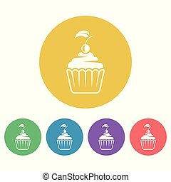 Cupcake vector colored round flat style icons