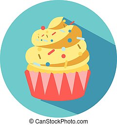 Cupcake vector icon with long shadow