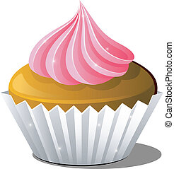 Cupcake - Vector illustration of cupcake over white. EPS 8,...