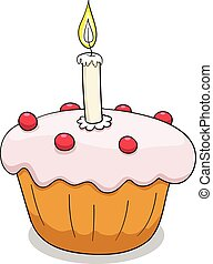 Cupcake vector illustration with outlines