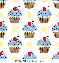 Cupcake vector pattern blue white background