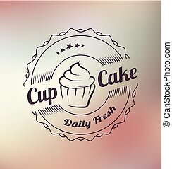 cupcake, vetorial, etiqueta