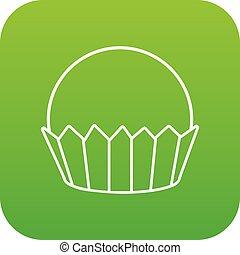 cupcake, vettore, verde, icona