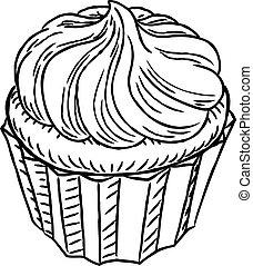 cupcake, vindima, retro, woodcut, estilo