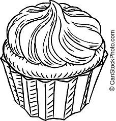 cupcake, weinlese, retro, holzschnitt, stil