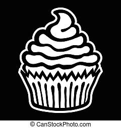 cupcake, wektor, ikona