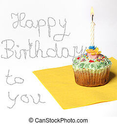 Cupcake with a candle, and text happy birthday