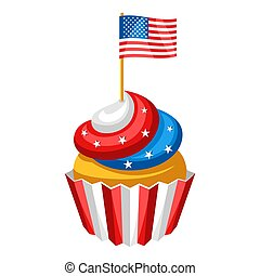 Cupcake with American Flag. Independence Day illustration.