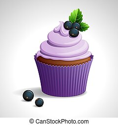 Cupcake with black currant - Vector illustration - lilac...