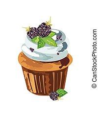 Cupcake with blackberry dessert