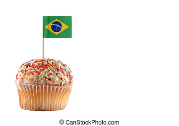 Cupcake with Brazilian Flag on the white background