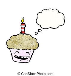 cupcake with candle cartoon