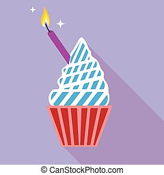 Cupcake with candle on the side