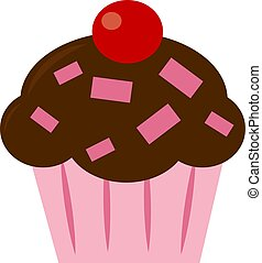 Cupcake with cherry, illustration, vector on white background.