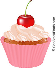 Cupcake With Cherry, Isolated On White Background, Vector...