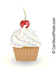 Cupcake with cherry on white background