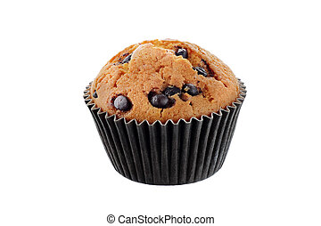 cupcake with chocolate chips isolated on white background isolated
