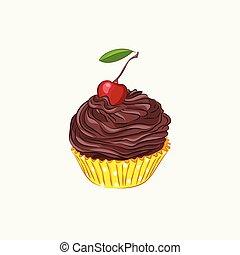 Cupcake with chocolate cream and cherry