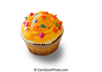 Cupcake with colorful decoration.