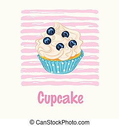 Cupcake with cream and blueberry