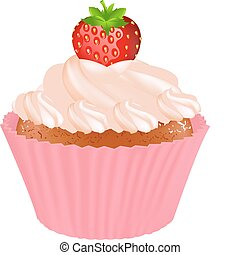 Cupcake With Cream And Strawberry, Isolated On White Background, Vector Illustration