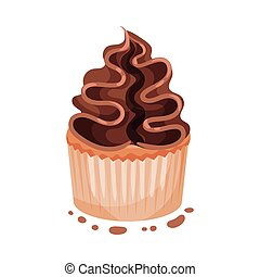 Cupcake with cream. Vector illustration on a white background.