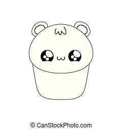 cupcake with face of bear kawaii style