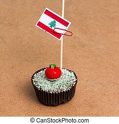cupcake with flag of lebanon