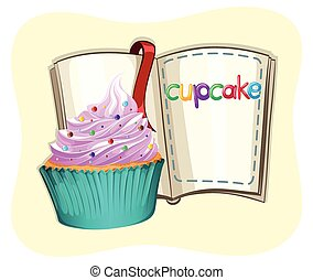 Cupcake with frosting and a book