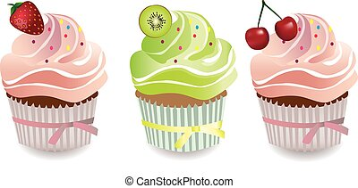 Cupcake with fruits toppings and cream