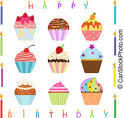 Cupcake with Happy Birthday Candles - vector Icons : Cute...
