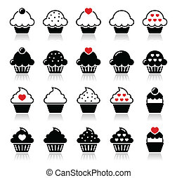Cupcake with heart, cherry and spar - Cute vector black...