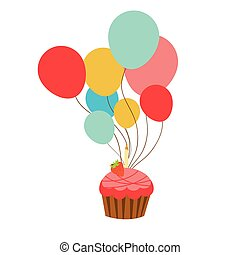 cupcake with helium balloons on white background