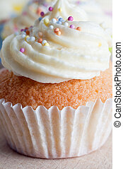 Cupcake with Icing and Sprinkles