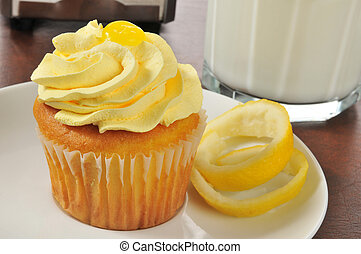 Cupcake with lemon frosting - A cupcake with lemon frosting...