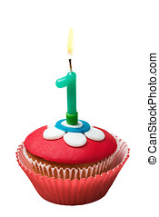 Cupcake with number one on white