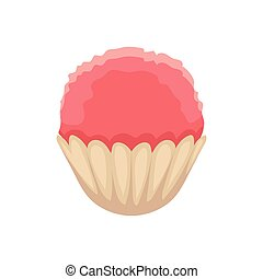 Cupcake with pink colored icing, cartoon vector illustration