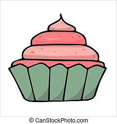 Cupcake with pink cream on white background