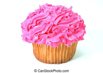 Cupcake with pink decorative frosting. Isolated on white ...
