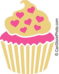 Cupcake with pink hearts