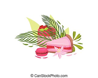 Cupcake with raspberry berries, a slice of cake and cookies in the icing. Vector illustration on white background.