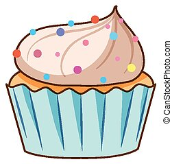 Cupcake with sprinkles on white background