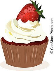 Cupcake with strawberry cream