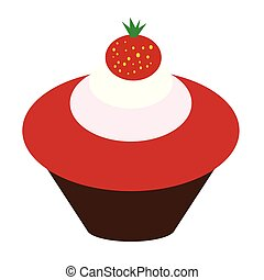 cupcake with strawberry flat simple illustration