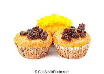 cupcake with topping isolated on white background