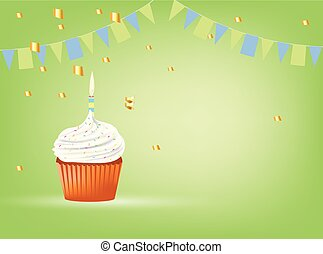 Cupcake with white candle