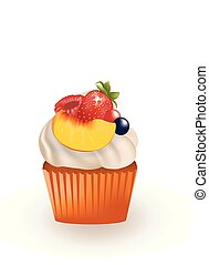 Cupcake with white cream and fruits
