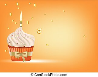 cupcake with white cream, golden bow and candle