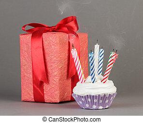 cupcake, y, caja obsequio