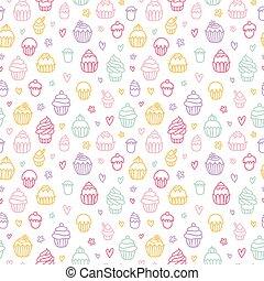 cupcakes, カラフルである, パターン, 概説された, seamless, 背景, 白